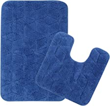 Saral Home Cotton Anti Slip Bath Mat with Contour Set (50X80cm, Blue)