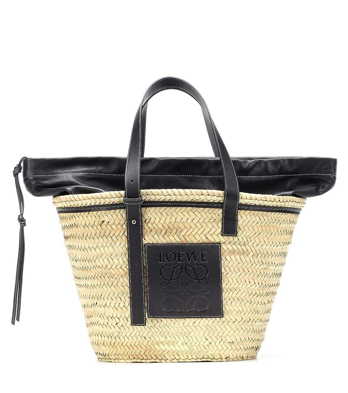 協力するシールド配管(ロエベ) LOEWE Women`s Leather-trimmed woven basket tote bag 女性レザートリミング不織布バスケットトートバッグ (並行輸入品)