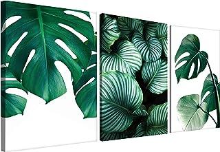 "Osh Decor Tropical Art Print 3 x Canvas 16"" x 24"" Palm Tree Wall Art Tropical Leaves Art Leaf Pictures Green Leaf Wall Art..."