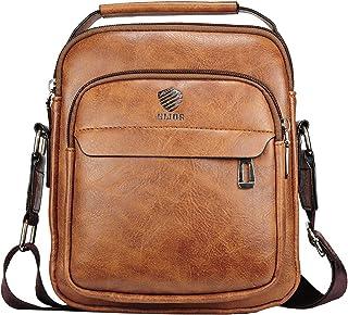 Elios Tan Brown PU Leather Trendy Retro Large Capacity Work Travel Wear Messenger Bag For Men