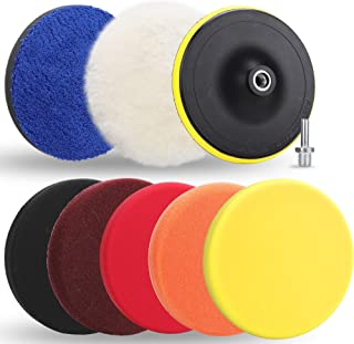 Benavvy 9pcs Polishing Pads Kit, 7 Inches Large Size Buffing Pads, Car Foam Buffing Sponge Pads Kit with M14 Drill Adapter for Car Care Polisher Boat Waxing Polishing Sealing Glaze