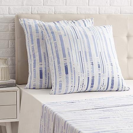 Amazon Basics Taie d'oreiller en satin - 65 x 65 cm x 2, Rayures bleu glace texturées