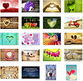 LOVE quotes postcard set of 20. Post card variety pack with famous quote about love postcards. Made in USA.