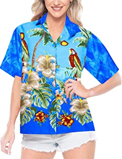 Women Plus Size Summer Tropical Hawaiian Beach Shirt Swimwear Printed B