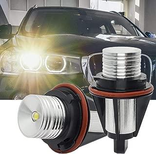 Para B-M-W Angel E39 E60 LED Luces Halo Anillo Marcador Bombilla Libre Error 10W para E53 E61 E63 E64 E65 E66 E83 E87 1 5 6 7 Series X3 X5 520D Xenon Blanco 6000K, 1 año de garantía Par
