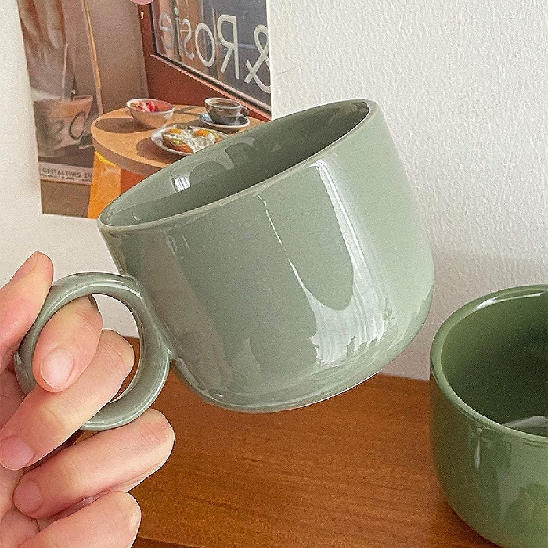 Ring Cup Coffee Dark Green Retro Tea Ceramic Special price Morn Direct sale of manufacturer
