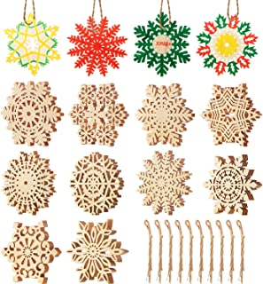 50 Pieces Christmas Wooden Snowflakes Ornaments Snowflakes Shaped Embellishments Unfinished Wooden Snowflakes Ornaments Xmas Tree Hanging Ornament with Drawstrings for Christmas Decoration DIY Crafts