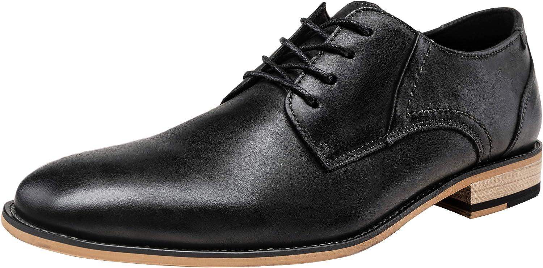 Jousen Men's Dress Shoes Leather Mens Oxfords Plain Toe Formal Shoes for Men (9,Black)