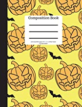 Composition Book 100 Sheet/200 Pages 8.5 X 11 In.-Wide Ruled- Pumpkins/Bats: Halloween Notebook for Kids - Student Journal...