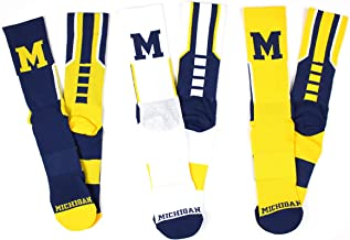 NCAA Michigan Wolverines 3 Piece Sport Performance Socks Bundle, Multicolor, One Size Fits Most