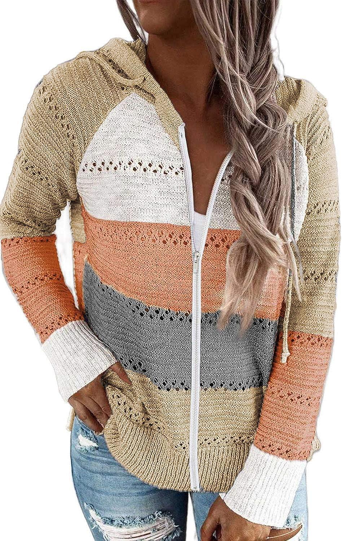 Acelitt Women Casual Long Sleeve Zip Up Hooded Sweatshirt Hoodies, S-XXL