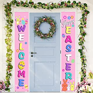 Chuangdi Easter Porch Sign Hanging Welcome Happy Easter Pattern Porch Sign Easter Bunny Egg Banners for Indoor Outdoor Por...