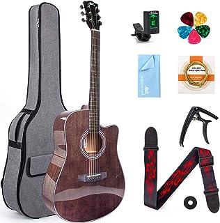 Aklot 41インチアコースティックギターセット マホガニー材 プロ/初心者対応 ケース/ストラップ/予備弦/カポ/チューナー/ピック付き
