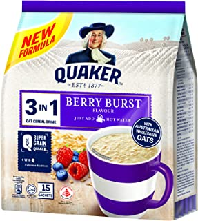 Quaker 3 In 1 Instant Oat Cereal Drink, Berry Burst, 450 G