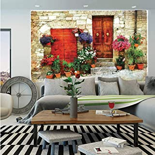 SoSung Tuscan Huge Photo Wall Mural,Colorful Flowers Outside Home in Italian Hilltown Assisi Rustic Door Image,Self-Adhesive Large Wallpaper for Home Decor 100x144 inches,Scarlet Orange Ivory