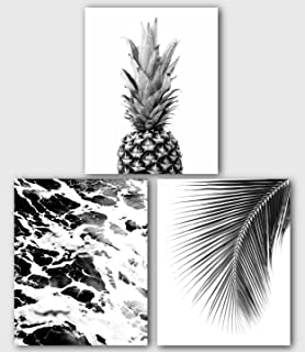 Tropical Set of 3 Prints, Black and White Decor, 8 x 10 Inches, Unframed
