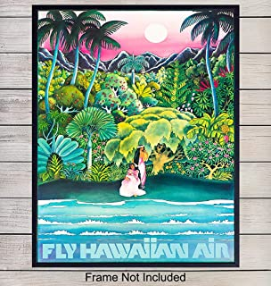 Vintage Hawaii Travel Wall Art Print - Tropical Home Decor for Lake or Beach House, Living Room, Bedroom, Kitchen, Bathroom - Makes a Great Gift - 8x10 Photo - Unframed