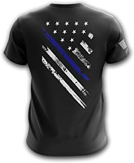 Blue Line Red Line American Crest Flag Military Army Mens T-Shirt Made in USA