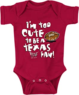 Oklahoma Sooners Fans. Too Cute to Be a Longhorns Fan Cardinal Onesie and Toddler Tee(6M)