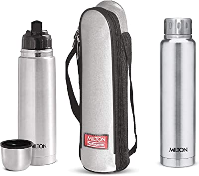 Milton Thermosteel Flip Lid Flask, 500 millilitres, Silver & Elfin Thermosteel Vacuum Flask, 500 ml, Sliver Combo