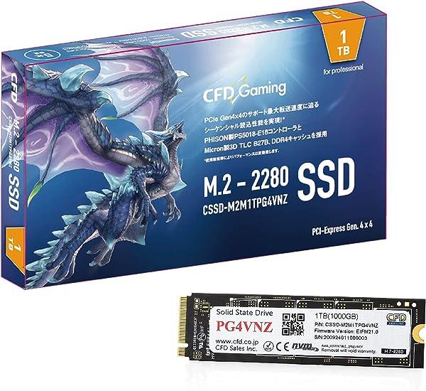 CFD販売 PG4VNZシリーズ 1TB (読取り最大 7,000MB/秒) 【PlayStation5 動作確認済】 M.2 2280 (NVMe) 接続 PCIe Gen4x4 内蔵 SSD 5年保証 CSSD-M2M1TPG4VNZ