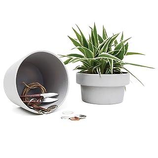 Suck UK Hideaway | Secret Stash Box Succulent Plants | Ceramic Flower Pot, Grey