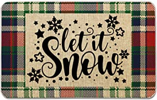 Christmas Welcome Winter Mat for Front Door Farmhouse Rustic Decorative Entryway Outdoor Floor Doormat Durable Burlap Outd...