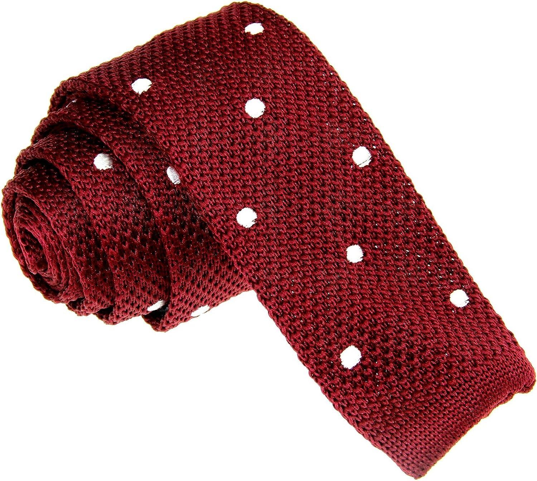 D.berite Wine Red White Boston Mall Polka Wedding Knit Dot Men's SEAL limited product Skinny