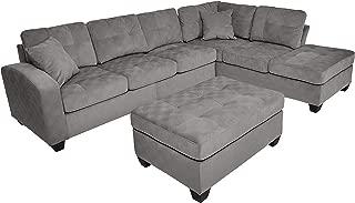 Homelegance Emilio Fabric Sectional Sofa and Ottoman Set, Taupe