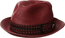 Poly Braid Pinch Front Fedora with Fancy Bow