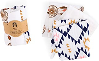 Muslin Face & Burp Cloth- 100% Organic Cotton Set of 3 Triangle Dreams