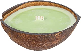Coconut Lime Scented Candle in Coconut Shell | Clean Burning Soy & Coconut Wax | Tropical Beach Candle Handmade in Real Co...