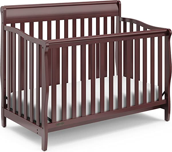 Graco Stanton Convertible Crib Cherry Easily Converts To Toddler Bed Day Bed Or Full Bed Three Position Adjustable Height Mattress Some Assembly Required Mattress Not Included