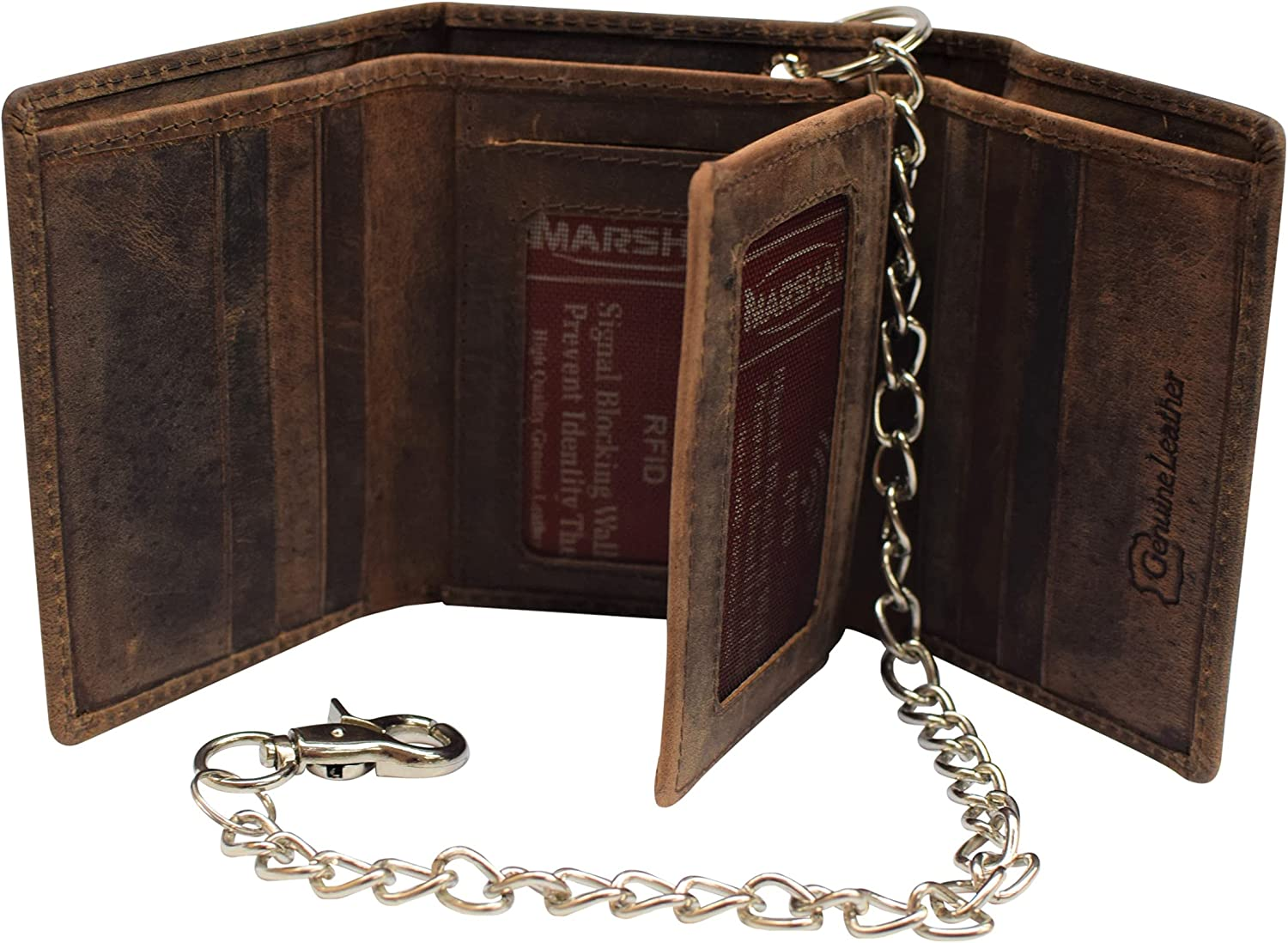 RFID Blocking Mens Chain Biker Vintage Genuine Leather Classic Trifold Wallet (Brown with Chain)