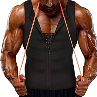 Voncheer Mens Slimming Body Shaper Vest Compression Sauna Sweat Waist Trainer Corset Shapewear with Zipper for Weight Loss