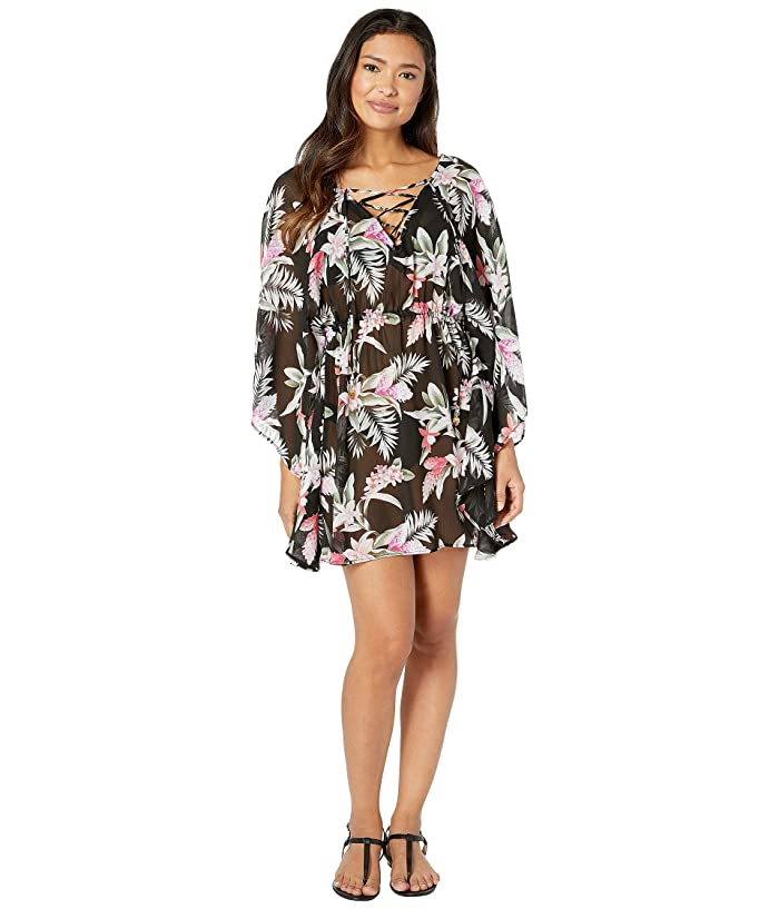 Tommy Bahama Gingerflower Open Back Tunic (Black) Women