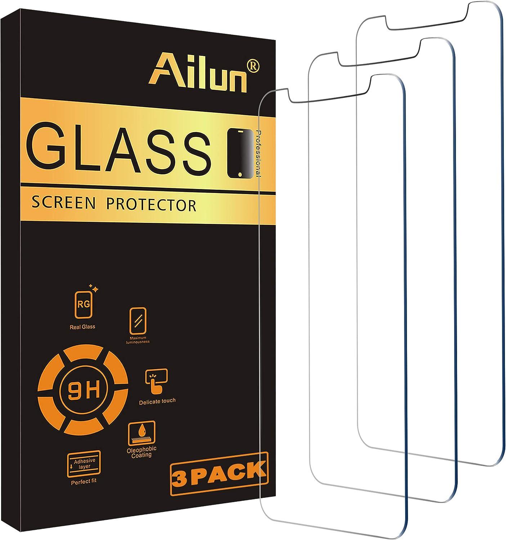 Ailun玻璃屏保护器适用于iPhone 11 / iPhone XR,6.1英寸3包钢化玻璃