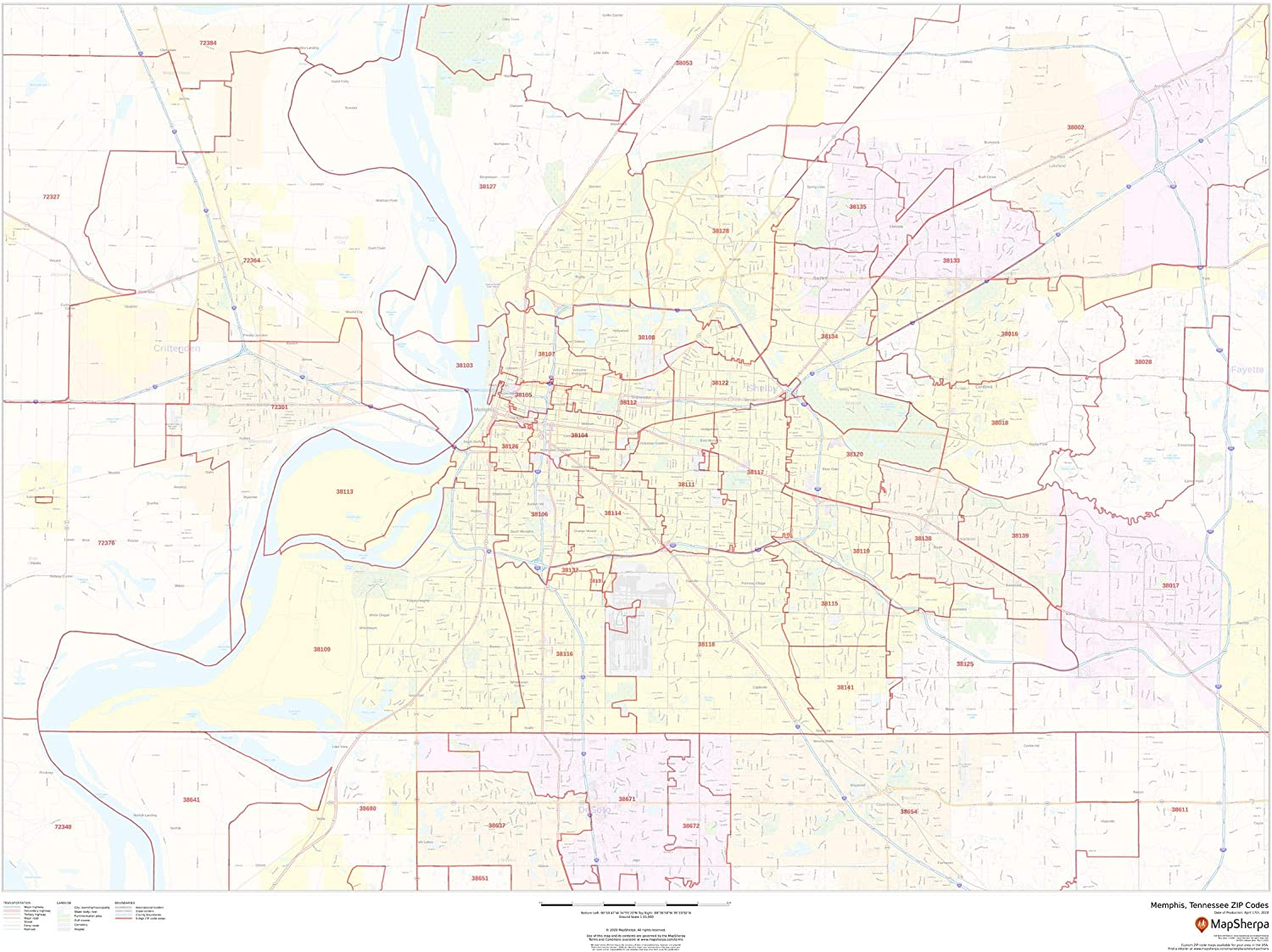Memphis Tennessee Product Zip Codes - 48