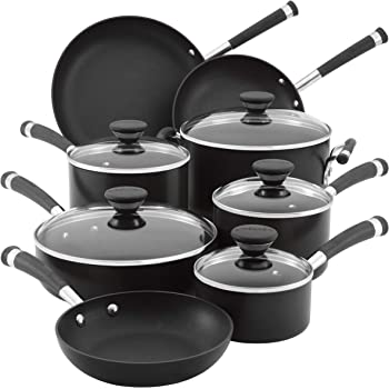 Circulon Acclaim Hard Anodized Nonstick Cookware Pots and Pans Set, 13 Piece, Black