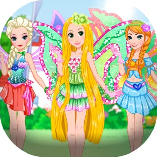 Dress up princess visiting fairies