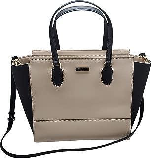Kate Spade Hadlee Laurel Way Leather Large Saffiano Leather Zip Satchel Bag Soft Porcelain (off White)/ Black