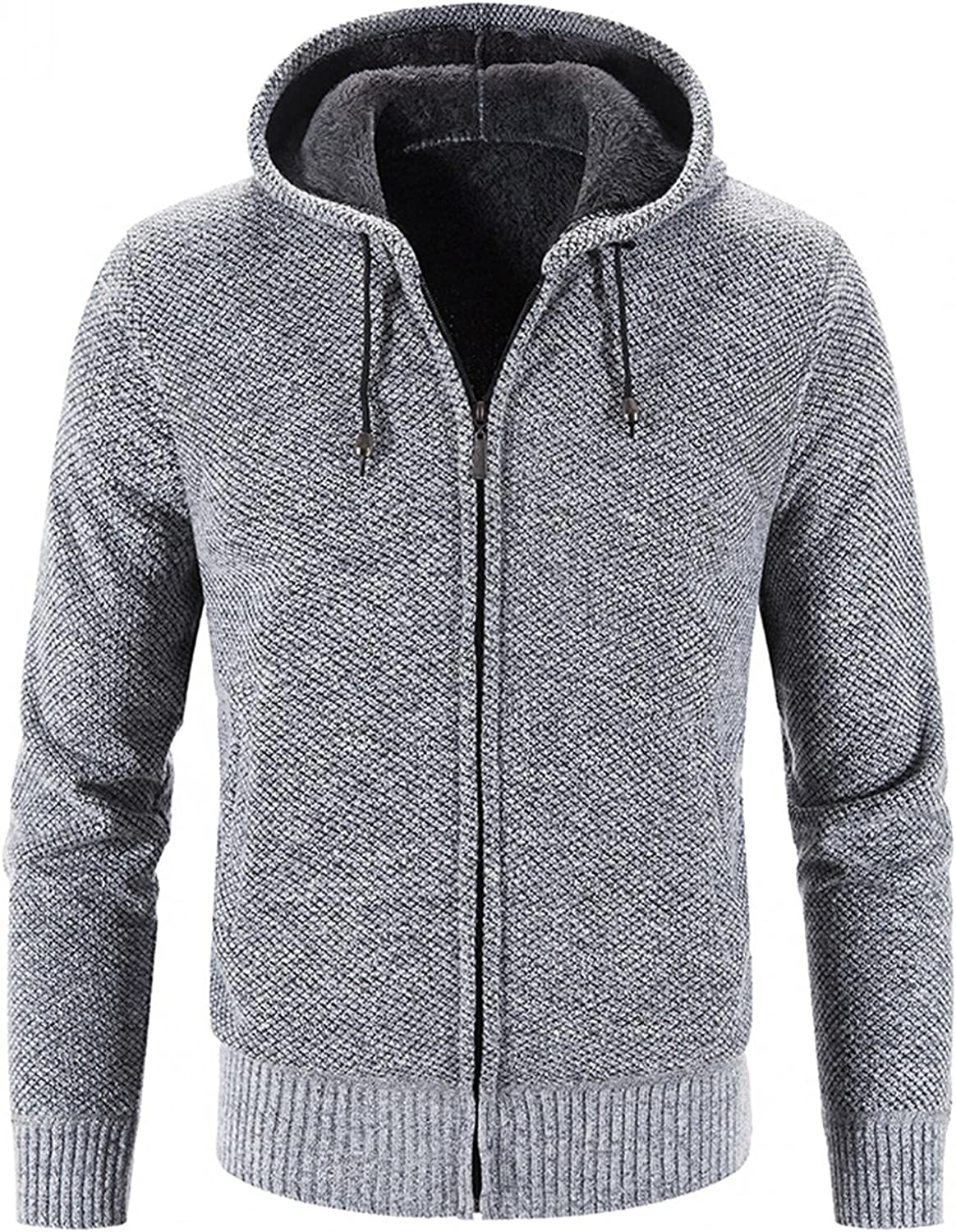 LEIYAN Mens Hooded Sweater Cardigan Cable Knitted Zip Up Slim Fit Casual Thermal Hoodie Jackets Knitwear