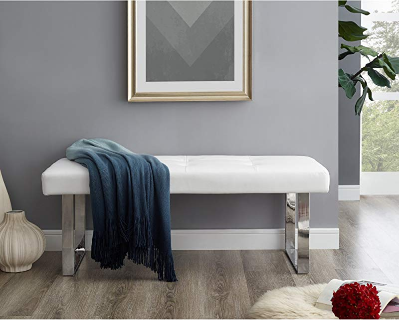 Oliver White PU Leather Bench Stainless Steel Legs Tufted Living Room Entryway Bedroom Inspired Home