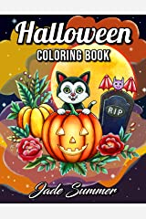 Halloween Coloring Book: An Adult Coloring Book with Beautiful Flowers, Adorable Animals, Spooky Characters, and Relaxing Fall Designs Paperback