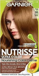 Garnier Nutrisse Ultra Color Nourishing Permanent Hair Color Cream, B3 Golden Brown (1 Kit) Brown Hair Dye (Packaging May Vary), 1 Count