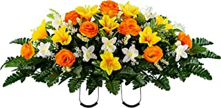 Sympathy Silks Artificial Cemetery Flowers – Realistic Vibrant Roses, Outdoor Grave Decorations - Non-Bleed Colors, and Easy Fit -Orange Yellow Rose Saddle