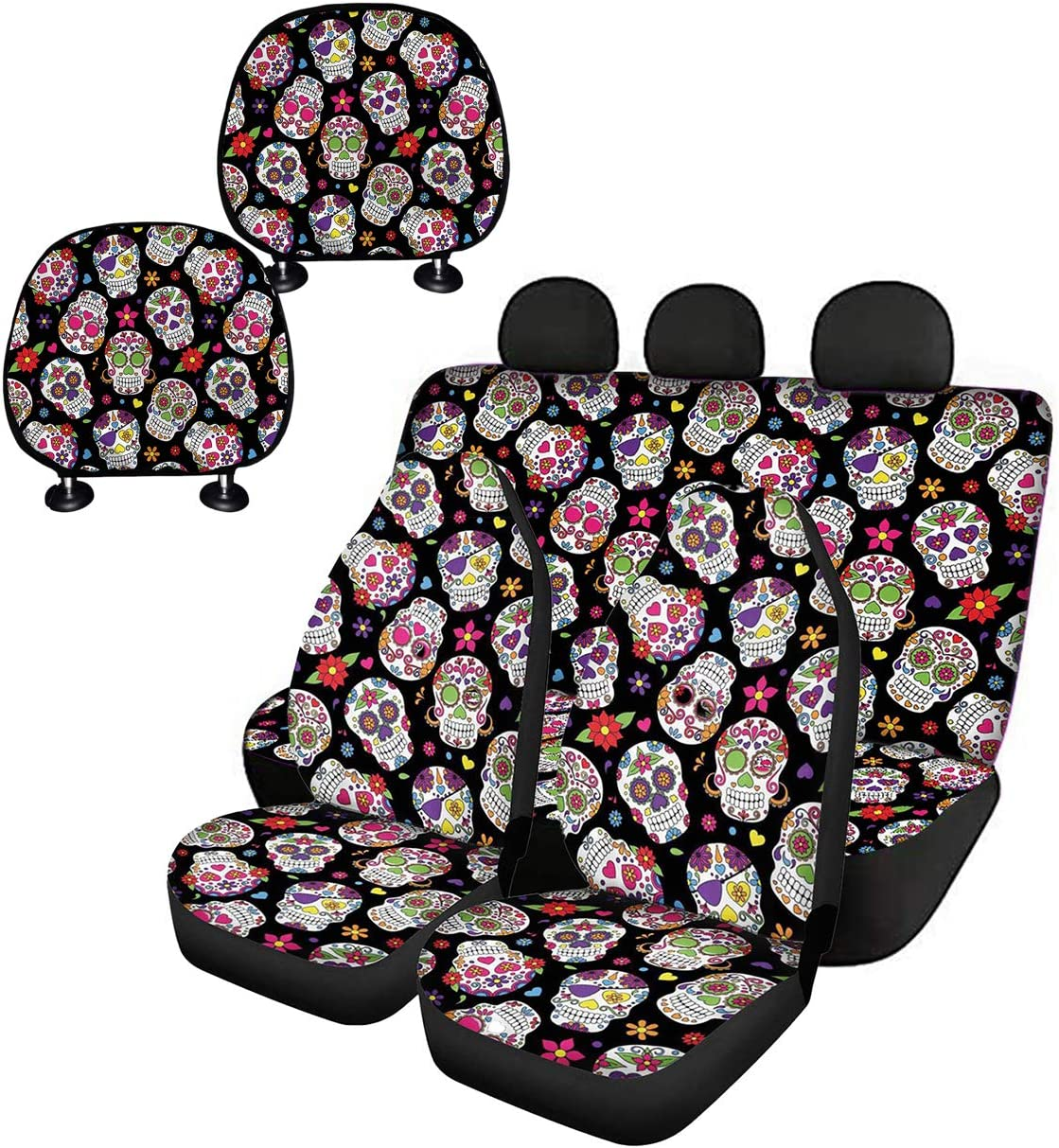 Universal Auto Accessories Novelty Seat Cover Head Rest Cover for SUV Van Truck Micandle 6pcs Aqua Flower Front Car Seat Covers and Rear Bench Back Seat Covers Headrest Cover Full Set