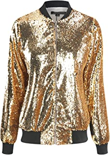 b900f09ad07 HAOYIHUI Women s Mermaid Sequin Lightweight Zipper Bomber Jacket