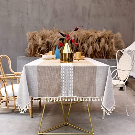 SUNBEAUTY Nappe Rectangulaire Coton Lin Vintage Decoration Table Cloth Tablecloth Rectangle 140x240 cm Tassel Nappe pour Table de Cuisine