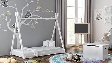Children's Beds Home - Enkelsängssäng - Titus Tepee stil för barn barn småbarn junior - storlek 190 x 90, färg vit, madras...